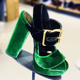 The velvet touch—Prada's Colorblock Velvet Platform Sandals.