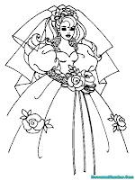 Mewarnai Gambar Barby Memakai Gaun Pengantin