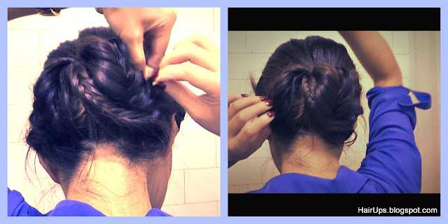  HOW TO FISHTAIL BRAID SOCK BUN UPDO YOUR OWN HAIR ON MEDIUM LONG HAIR. EASY HAIRSTYLES CHIGNON