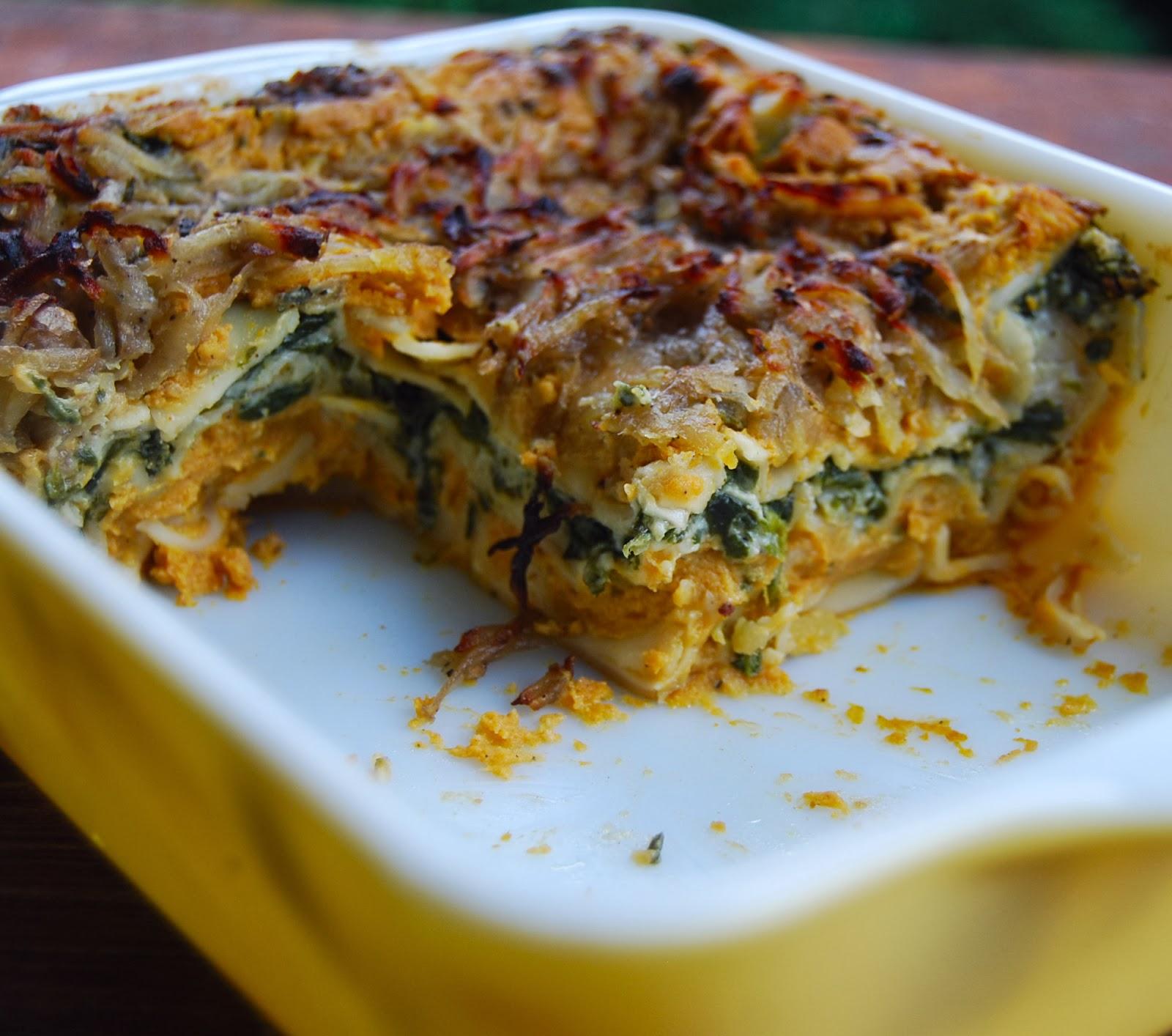 Pumpkin Spinach Lasagna - Holy Cow! Vegan Recipes