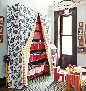 Some Smarties Thought To Take Industrial Rolling Racks/shelving Units And  Drape Them In Fabric, Therefor Making Little Closet Units That Can Be  Closed Up, ...