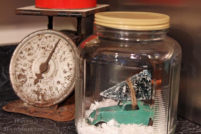 Winter snow jar scene in a jar.