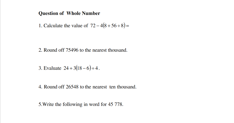 Mrsm Pontian Mathematics Department Mathematics Form 1
