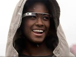 Image of woman wearing high tech Google Glass device