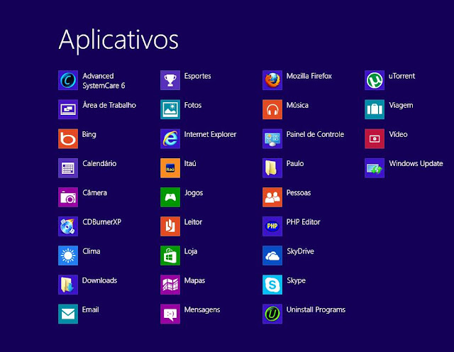 Todos aplicativos do Windows 8 do Paulo Rocha