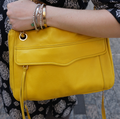 Rebecca Minkoff canary yellow swing tote mixed metal bracelet stack