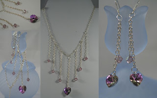 Delicate Love - earrings & necklace set (sterling silver, Swarovski crystal) :: All Pretty Things