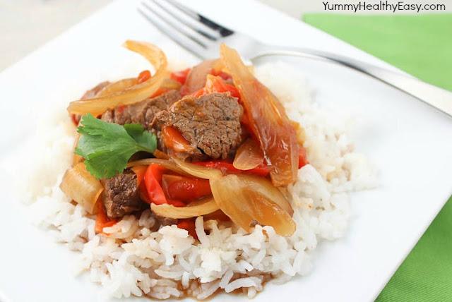 Slow Cooker Pepper Steak - Yummy Healthy Easy
