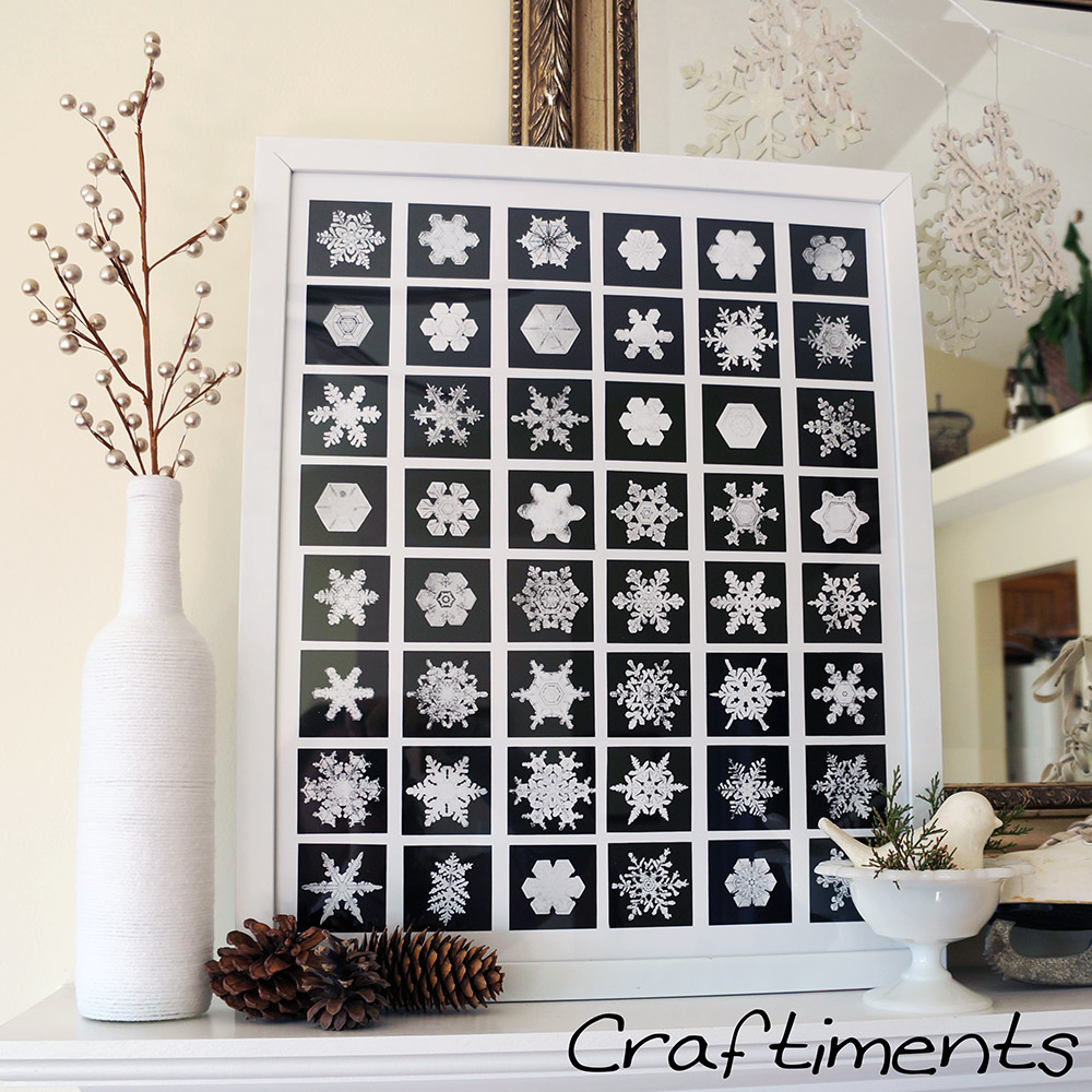 Craftiments:  Yarn wrapped bottle and collage of snowflake photographs