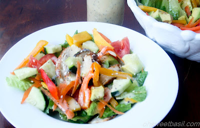 This teriyaki chicken salad is loaded with fresh veggies, mango and a delicious Asian Poppyseed dressing that you'll love!
