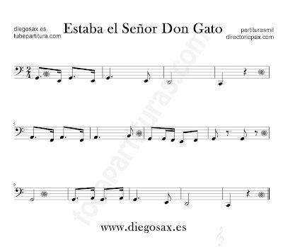 Estaba el Señor Don Gato partitura de trombón, tuba, violonchelo, fagot, bombardino en clave de Fa