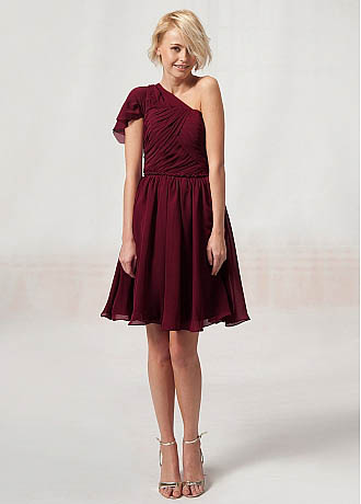 Bridesmaid Dress Length For A Fall Wedding Scoop Neckline Tea length