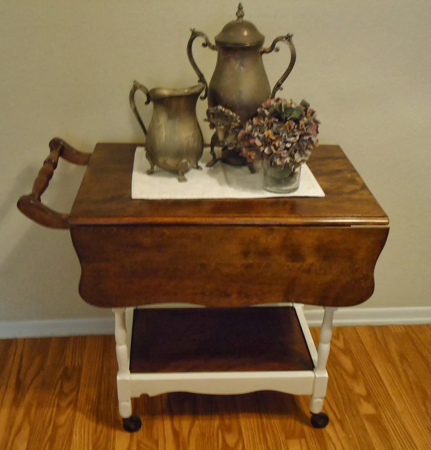 Vintage Drop Leaf Tea Cart with Detachable Serving Tray - SOLD