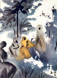 Naomi stands on the road to Judah as her two Moabite daughters-in-law, Ruth and Orpah, beg to accompany her to her native land, watercolor painting by Salvador Dali, image courtesy of Biblical Archaeology Review