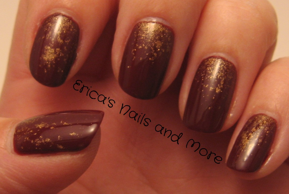 Ericas nails and more november nail art challenge day 10 i found some la colors loose eyeshadow they had about 20 colours so i got a goldy coloured one in case i decide to try it as an eyeshadow sometime prinsesfo Image collections