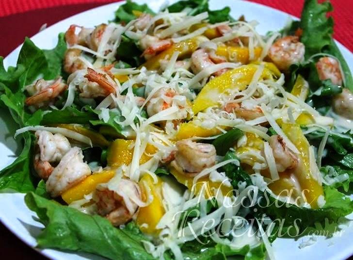 Receita de Salada de camarão com manga