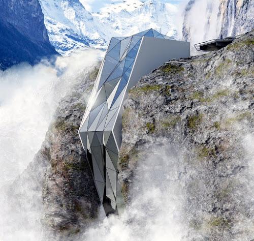 Projeto de hotel na encosta dos Alpes Suíços