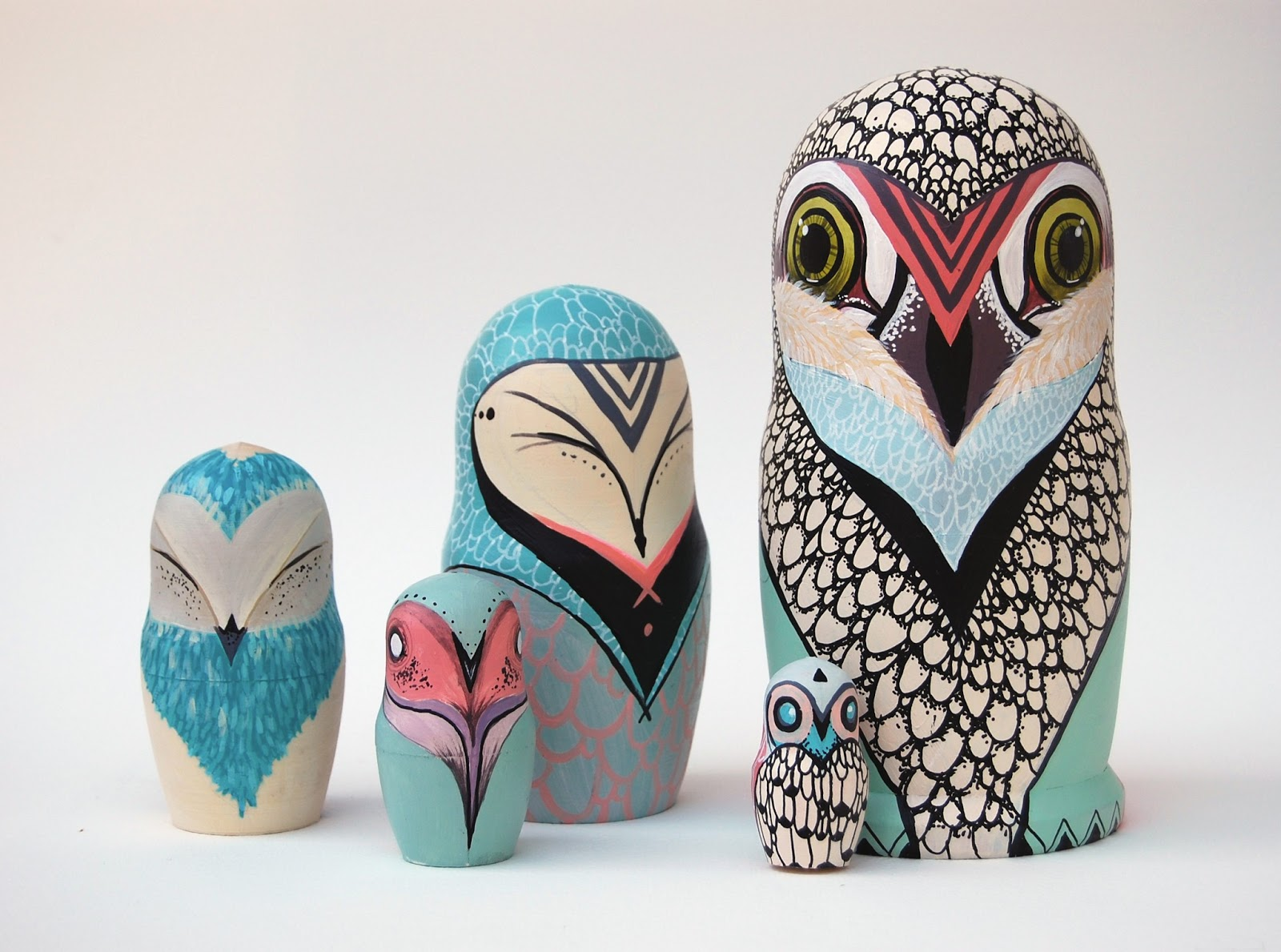 caleigh ill ustration custom stacking dolls russian owls