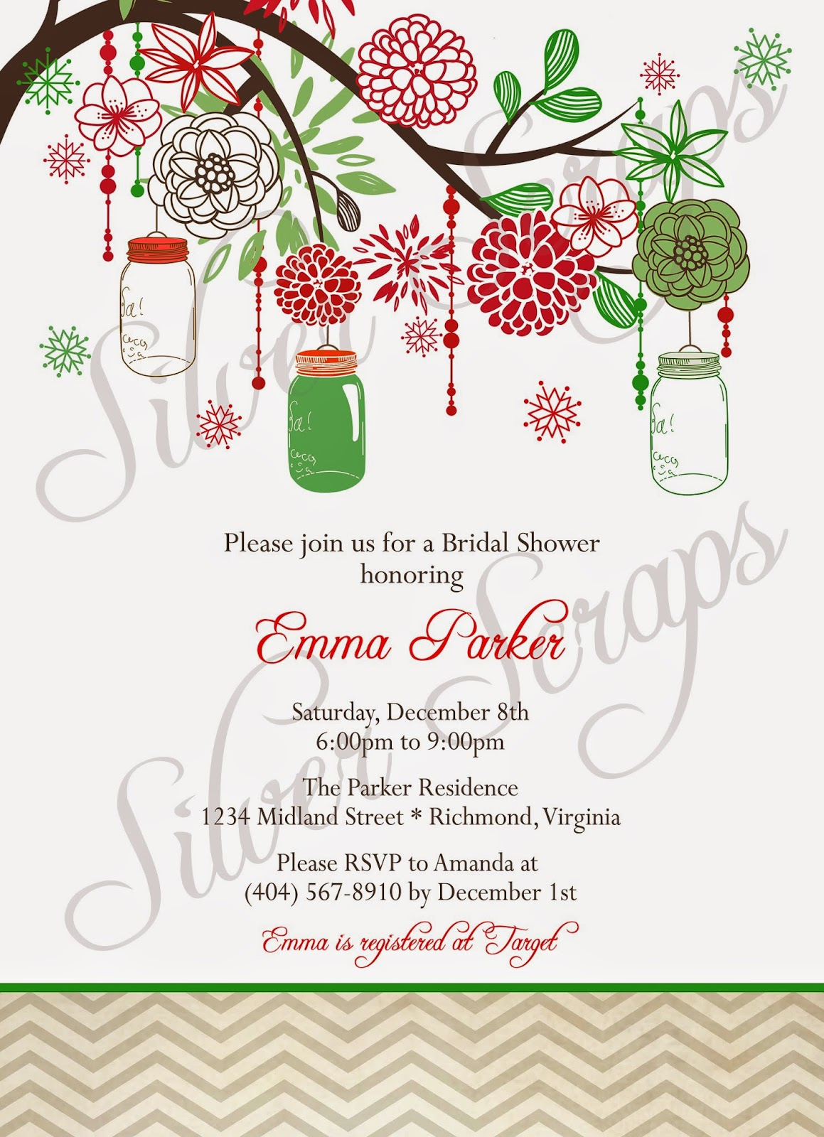 Vintage Christmas Mason Jars, Holiday Flowering Tree - Custom Rehearsal Dinner, Wedding, Bridal, Baby Shower, Engagement Party Invitation red green flowers floral chevron ball jar