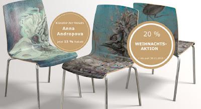 Annas Kollektion bei Arssedia - Design Holzstühle mit Motiven von Annas Farbgrafikwerken und Zeichnungen  Bestellung über Arssedia sowie direkt über Annas Website möglich