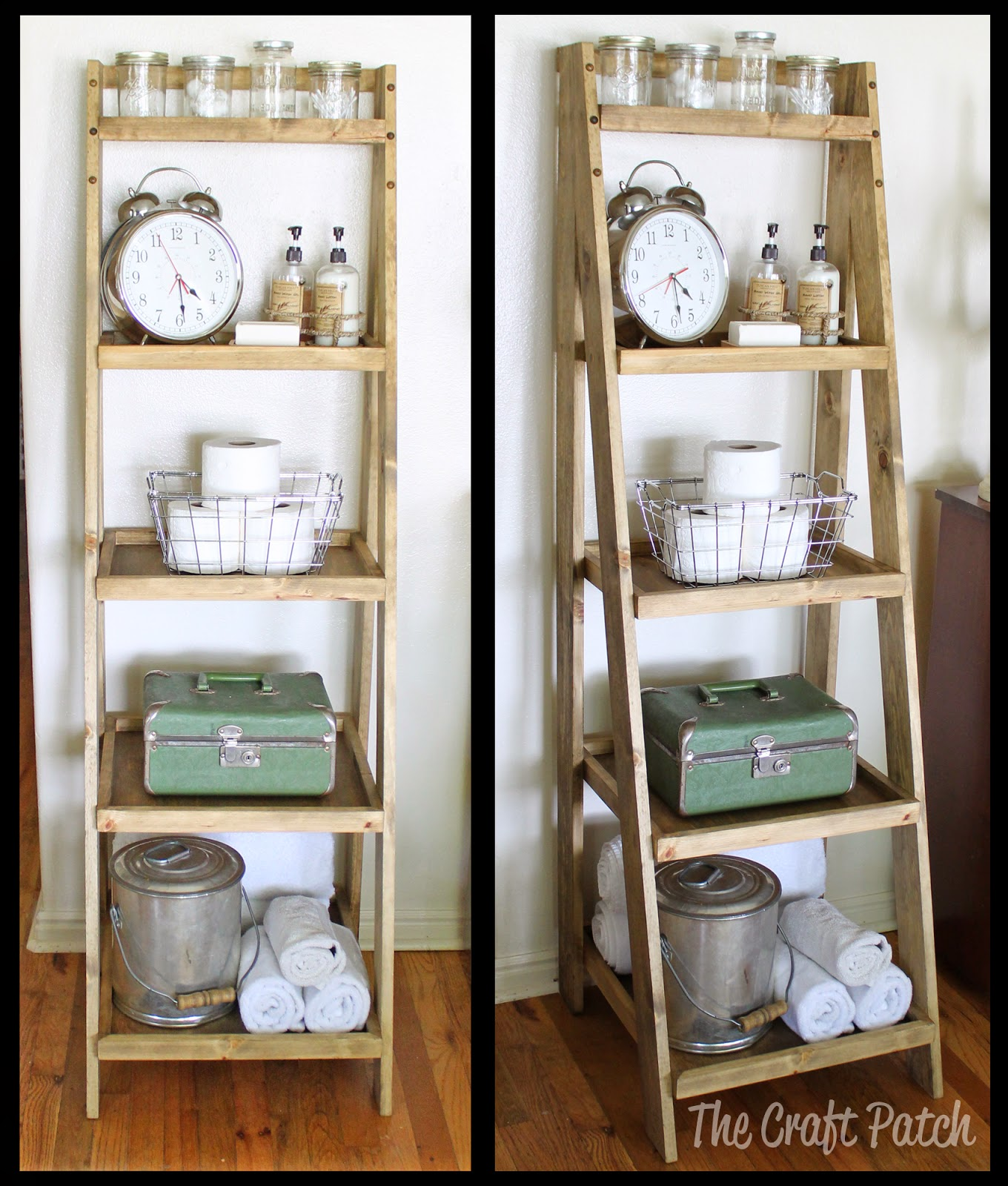 diy ladder shelf bathroom storage - thecraftpatchblog