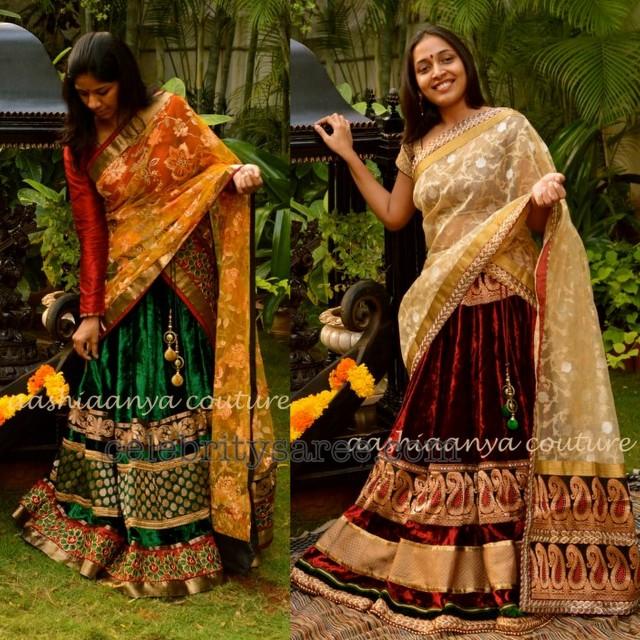 Velvet Half Sarees for Sangeet