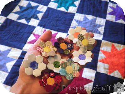 ProsperityStuff Quilts: Tiny EPP hexagon flowers in my hand