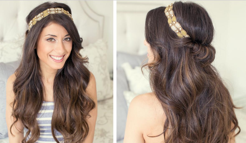 Как делается греческая прическа с повязкой на длинные волосы