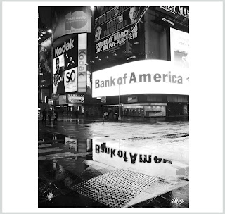 bank of america images, bank of america in the rain, reflected bank of america, bank of america art, bank of america prints, laura hol art