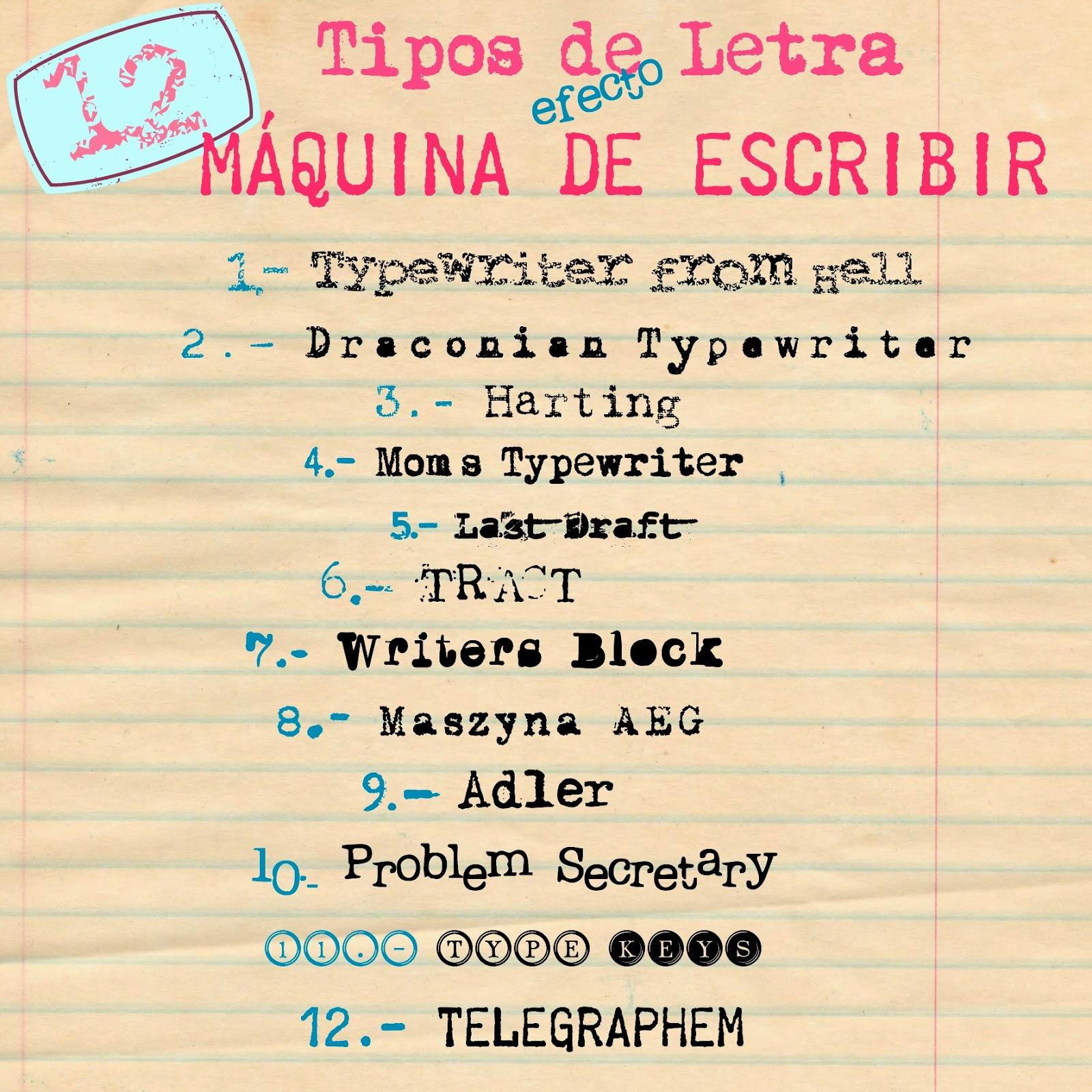 Fuentes Tipos de Letra efecto Máquina de Escribir