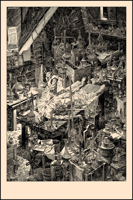 "Nakatomi Inc - Bernie Wrightson's Frankenstein Screen Print ""A Filthy Process"""