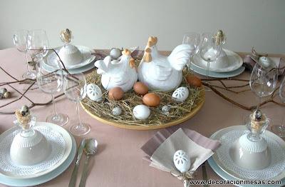decoracion de la mesa de Pascua