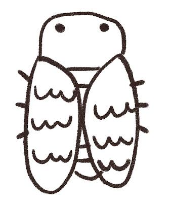 ミンミンゼミのイラスト(虫) モノクロ線画