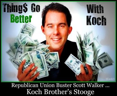 Walker awash in Koch cash