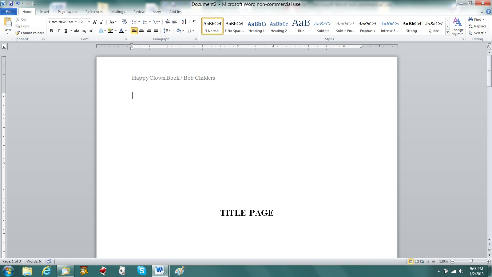 how to make cover page with no page number