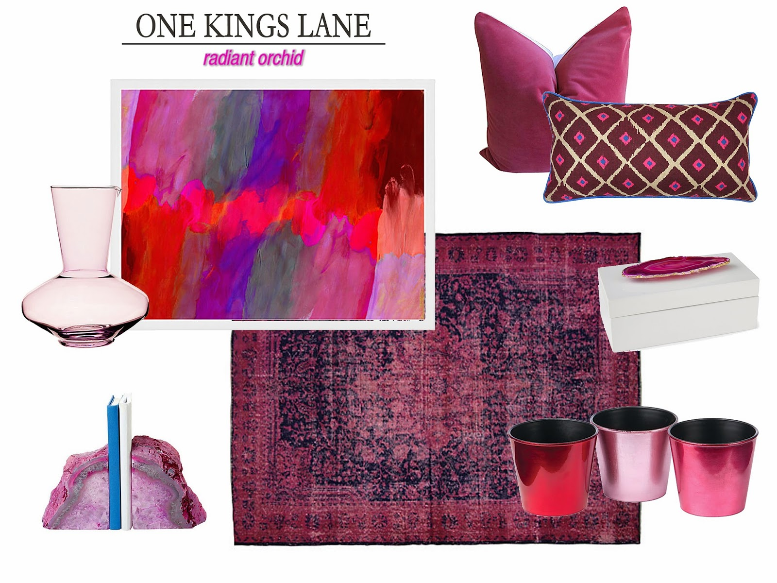 one kings lane, radiant orchid home decor, em design interiors
