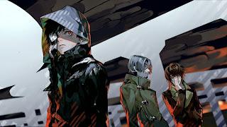 Tapeta z trzema bohaterami Tokyo Ghoul