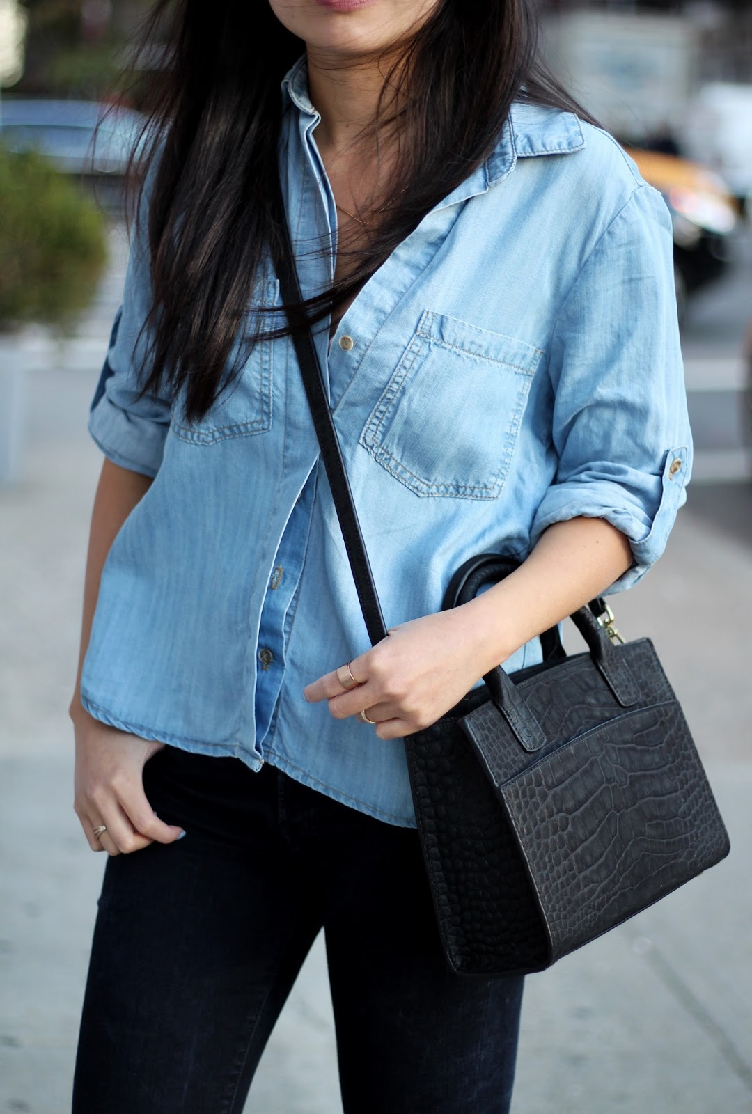 Denim on denim leather jacket Emily Cho mini tote bag