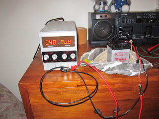 Charging the 6V battery motorbike with a power supply