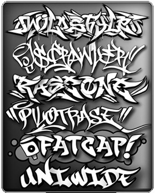 Label graffiti letters
