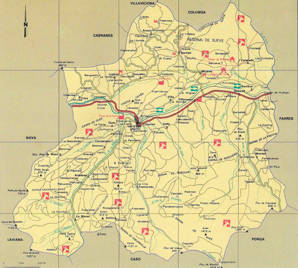 Mapa del Concejo de Piloa  As ye Asturias