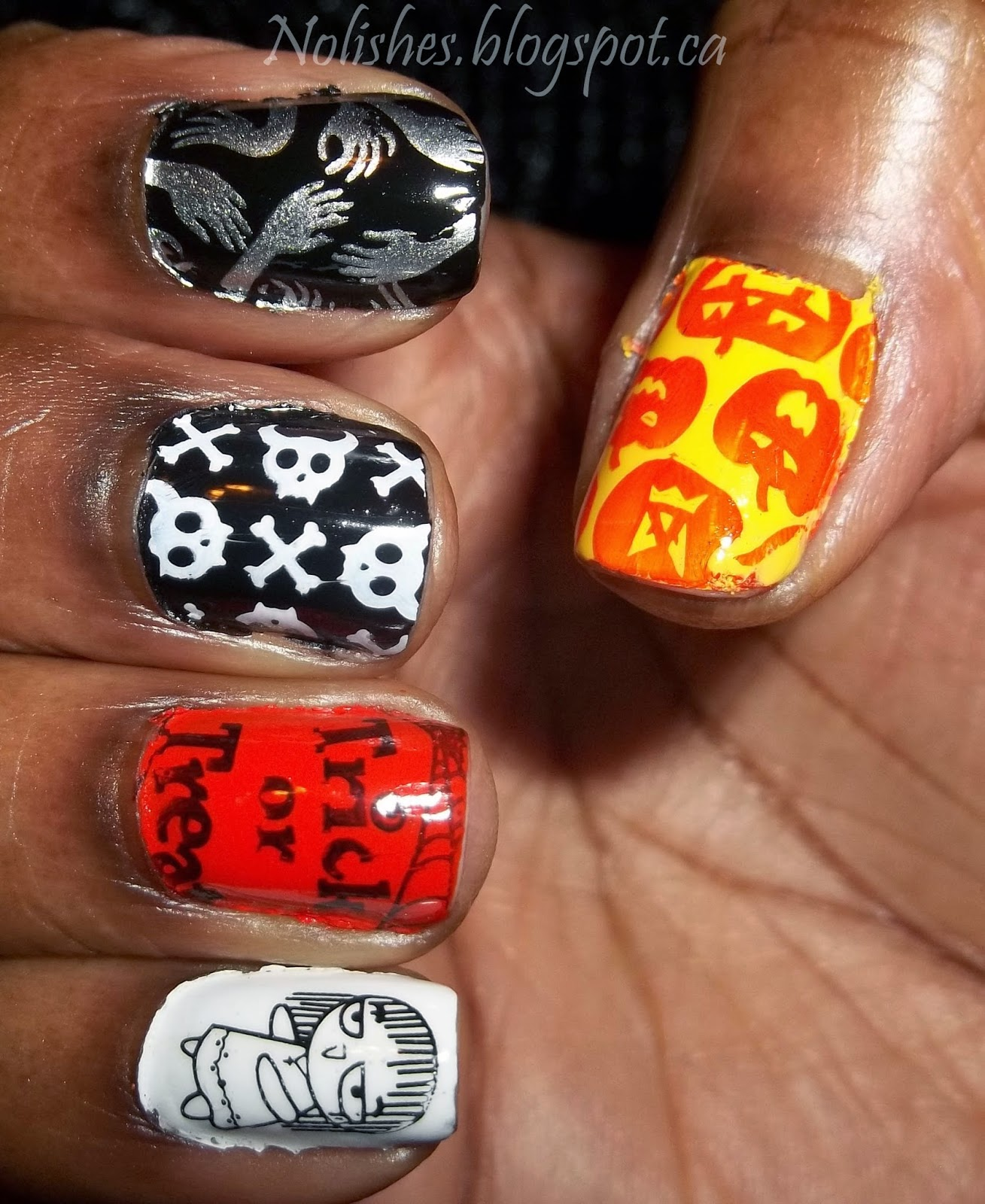 Halloween Themed Nail Stamping Manicure using Orange, Black, Silver, White and Yellow Nail Polishes (Right Hand)