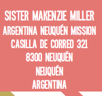 Send Sister Miller a letter to: