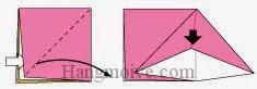 Bước 3: Từ vị trí mũi tên, mở lớp giấy trên cùng ra, kéo tờ giấy sang phía bên phải, gấp tờ giấy xuống dưới sao cho đỉnh mũi tên đen trùng xuống dưới.