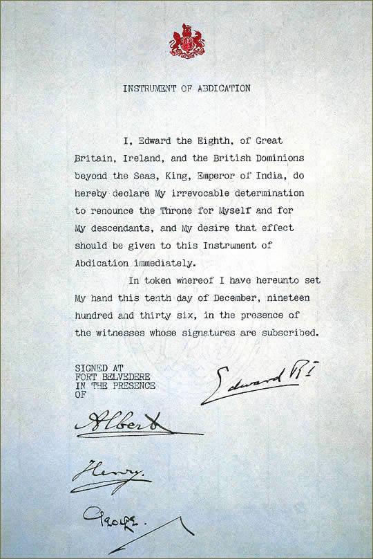 Documento de abdicación de Eduardo VIII