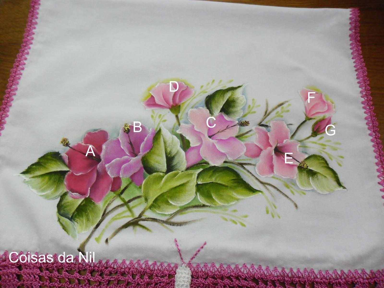 Pintura Em Tecido   Pano De Copa   Borboleta De Croch   E Hibiscos