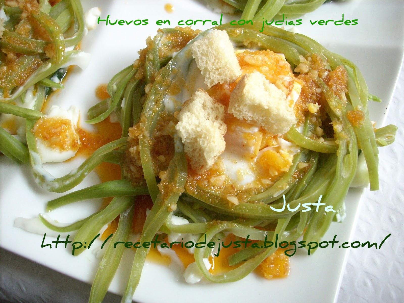 Recetario de justa huevos en nido de judias verdes - Tiempo coccion judias verdes ...
