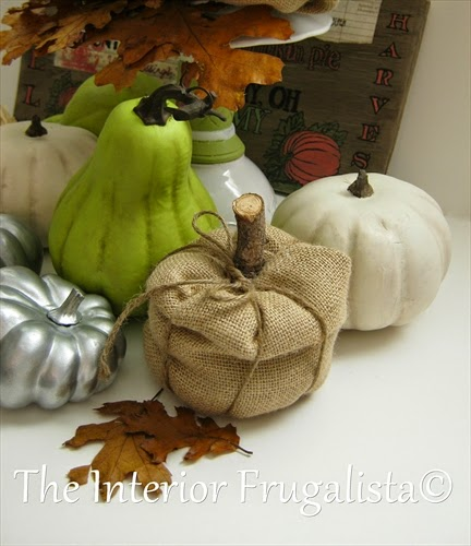DIY painted and burlap pumpkin and gourd Fall display