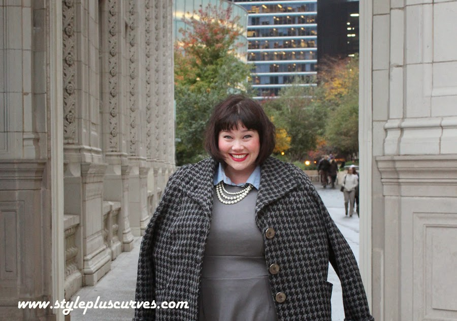 Amber from Style Plus Curves in Plussize Jessica London Gray Knit Dress