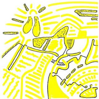 Zeichnung Bild / painting picture : sonnendurchflutet / full of sunlight